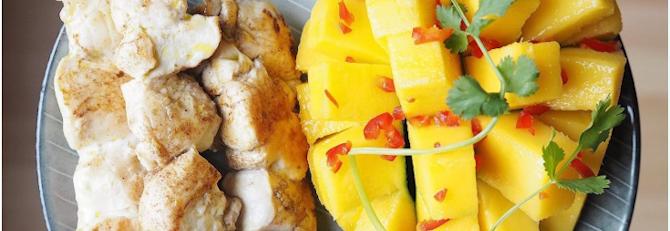 BBQ Chicken Kebabs with Mango Salsa