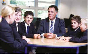 Principal with Year 7 students